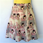 Retro Geisha A Line Skirt - ladies sizes avail - Japan Japanese, kitsch , pink
