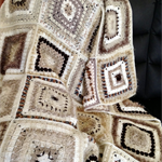Shades of Cream, Beige and Brown Textured Crochet Afghan/Lap Rug