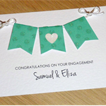 Personalised Engagement  card - green bunting