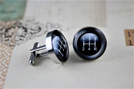 Resin cufflink, gear, gearshift manual transmission, H pattern, car, 5 speed