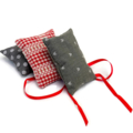 Trio of cedar sachets in red and grey