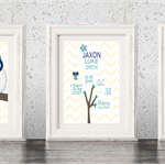 Custom Baby Birth Print Announcement Nursery Wall Art Set