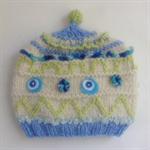 Embellished knit hat for baby 3-6 months.