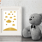 Baby Wall Art Print, Clouds & Stars, Gold on White