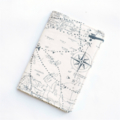 Passport cover, vintage cream map, wallet