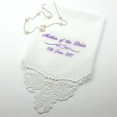 Elegant Mother of the Bride Handkerchief Hanky for your Mum with Crocheted Lace