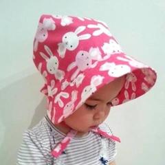 Adjustable Bonnet  - Hot Pink Happy Bunnies