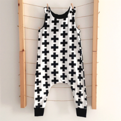 Monochrome Crosses Slouch Romper