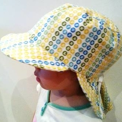 Adjustable Unisex Baby Sunhat legionnaire hat - Word finding green yellow