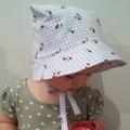 Adjustable Baby Sun Bonnet - Blue Checker Cherries