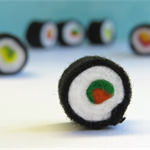 Sushi Rolls x 6 Miniature Felt Sushi Set  Tiny felt food toy