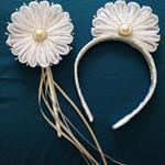 White Petal Headband and Wand set #2