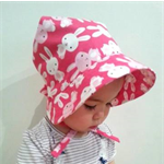 Adjustable Bonnet  - Hot Pink Happy Bunnies