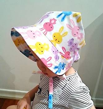 Adjustable Bonnet - Happy Bunnies Multi