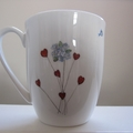 Hand painted mug featuring little girl, blue birds and hearts