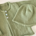 Green Newborn Cardigan and Hat Set  - Hand knitted 