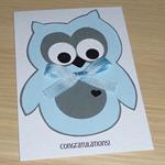 Baby Boy card - cute blue owl!