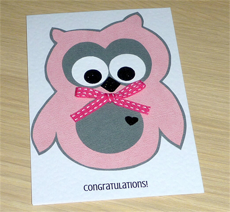 Baby Girl card - cute pink owl!