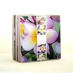 "4 Ceramic Coasters Design ""Pink Frangipani"""