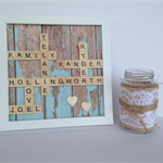 9 x9 Scrabble Wall Art - Personalised Gift Wedding, Engagement Father's Day