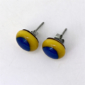 Burst of Colour Yellow and Blue Fused Glass Earrings