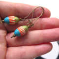 Stripe dangle blue orange green earrings