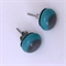 Burst of Colour Turquoise and Grey Fused Glass Earrings