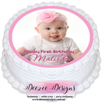 Photo Personalised Round Edible Icing Cake Topper - PRE-CUT