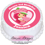 Strawberry Shortcake Personalised Round Edible Icing Cake Topper - PRE-CUT