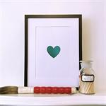 Real Foil Teal Green Heart A4 Print Wall Art Nursery