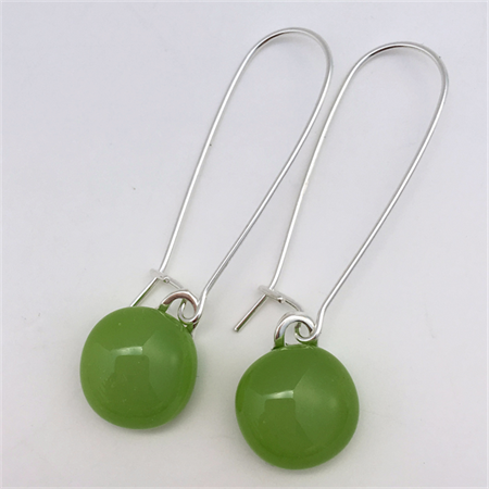 Greenery Sterling Silver  Fused Glass Long Danglies Earrings