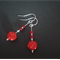 Vibrant Red Shamballa Drop/Dangle Earrings