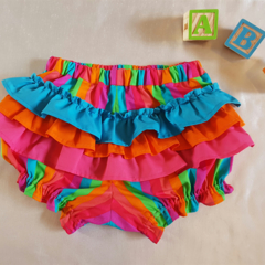 Fancy Pants with ruffles. Bright rainbow strip print fabric.  Size 18 months