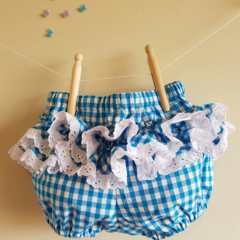 Fancy Pants, blue and white gingham with broderie anglaise lace ruffles.