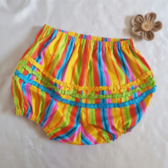 Fancy Pants, multicoloured stripes with little ruffles. Size 2