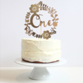 Gold age wreath Cake Topper. 7 inches. Birthday Party.