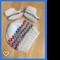 Beanie Hat & Bootie Shoe Socks, 0 - 3 m, Hand Knit, Wool , White / Rainbow