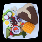 FELT FOOD STEAK SALAD CORN COB MEAL