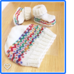 Beanie Hat & Bootie Shoe Socks, 0 - 3 m, Hand Knit, Wool , White / Rainbow