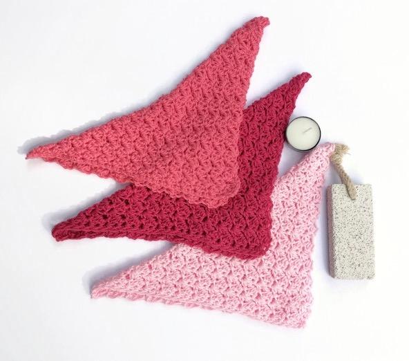 Three pink washcloths newborn baby shower cotton spa cloth