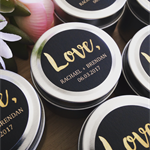 60 x Personalised Favours - Soy Candle Tins - Gold or Silver