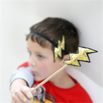 Lightning Bolt Magic Wand - Gold Glitter - Zap - Flash - Boys wand