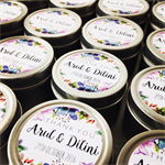 100 x Personalised Wedding Favour Candle Tins - Gold or Silver