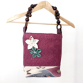 Handcrafted kimono fabric handbag-  with flower brooch- fuschia & purple shibori