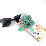 Glasses / sunnies case with Leather flower brooch