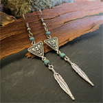 Long Silver Boho Tribal Feather Earrings
