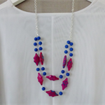 SALE: Hot pink and cobalt blue necklace