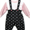 Romper and top set, overall dungaree, Polka dots, pink sequins, pink long slv T