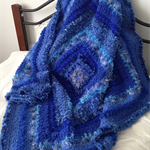 Shades of Blue Textured Crochet Afghan/Lap Rug