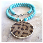 MATINEE HIDE NECKLET - MOCHA LEOPARD HIDE & TURQUOISE ROUNDS